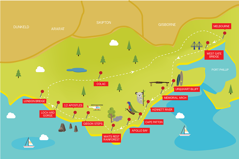 1-Day-GreatOceanRoadTour-Route-Map